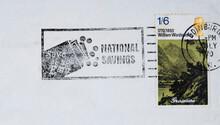 Briefmarke Stamp Alt Old Vintage Retro Schottland Scotland Edinburgh William Wordsworth Grasmere Slogan Werbung National Savings Savea S You Earn Gold Landschaft Grün