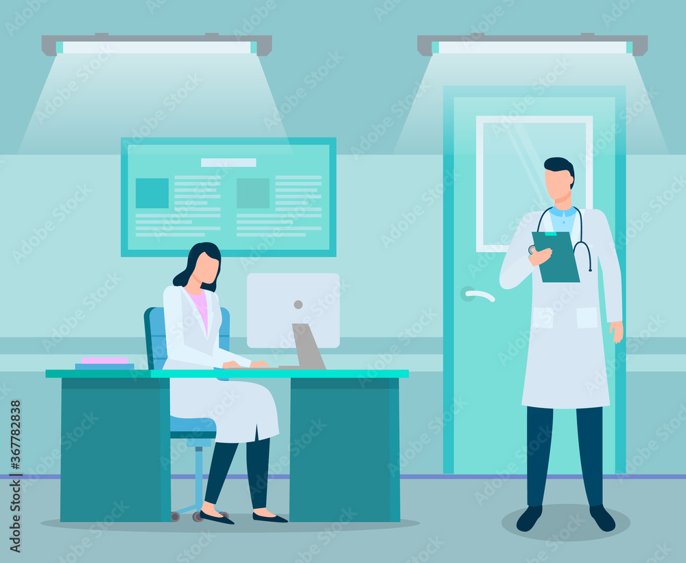 Fototapeta Two doctors in medical office. Man physician or doctor with stethoscope and clipboard in hand standing near table. Woman therapist sitting at desk working with computer. Modern clinic, doctors working