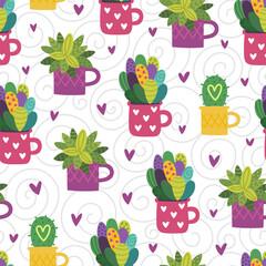 Panel Szklany Podświetlane Skandynawski Seamless cactus pattern