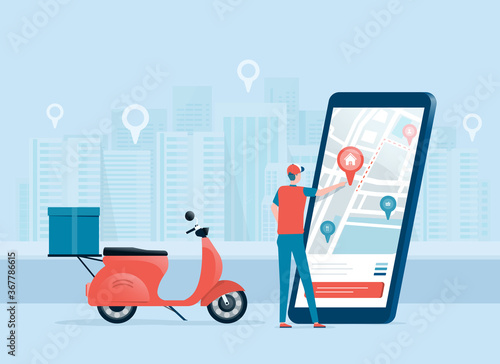 Canvastavla business online delivery concept with delivery man and mobile online map navigation application