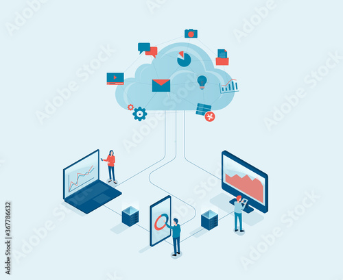 Flat vector business technology cloud computing server service concept with developer team working concept - 367786632