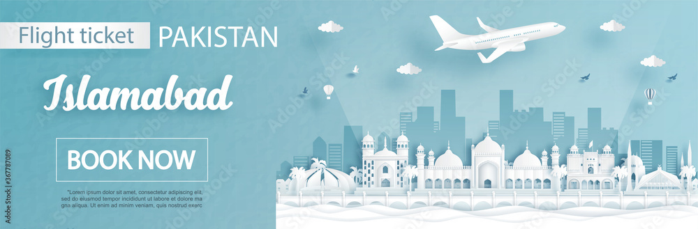 Fototapeta Flight and ticket advertising template with travel to Islamabad, Pakistan concept and famous landmarks in paper cut style vector illustration