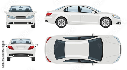 Fotomural White car vector template with simple colors without gradients and effects
