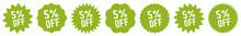 5 Percent OFF Discount Tag Gre...