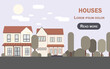 Semi detached houses vector. Mansion website template. Simple minimal banner graphic design.