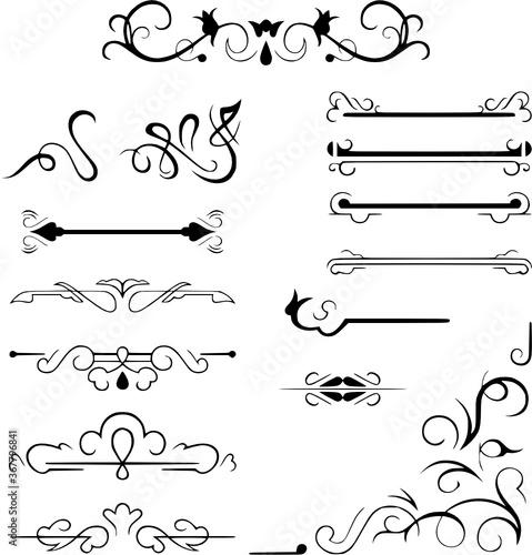 Set calligraphic design elements vectorelement, vintage, divider, floral, calli Slika na platnu