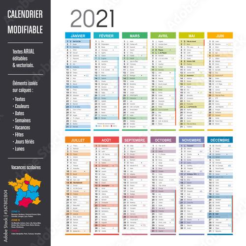 Calendrier 2021 modifiable - Eléments isolés sur calques, textes en Arial, éditables et vectorisés.