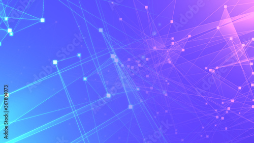 Fototapeta Abstract purple violet polygon tech network with connect technology background. Abstract dots and lines texture background. 3d rendering. obraz na płótnie