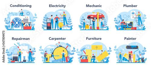 Obraz Household and renovation profession set. Home Master. Repairman, - fototapety do salonu