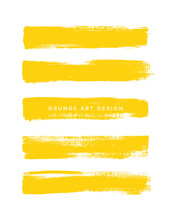 Art Brush Paint Texture Stroke Set Isolated Vector Background. Yellow Line Set. Tape Collection.