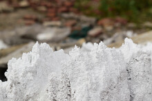 White Porous Structures. Sharp Edges. Concept Of Chemical Waste And Reagents, Dump Of Salt, Alkali.