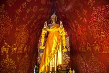 Golden Buddha Statue At Wat Xieng Thong, Buddhist Temple Of Luang Phrabang, Laos