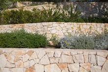 Garten Und Landschaftsbau: Terrassenförmige Gestaltung Eines Hanggrundstücks Mit Mauern Aus Natursteinen Und Grünpflanzen Und Stauden Bepflanzt