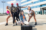 Group of hip hop dancers permorming their dance.