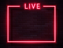 Vector Retro Neon Red Live Fra...