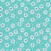Tiny Flowers Seamless Pattern. Blue Vintage Floral Background.