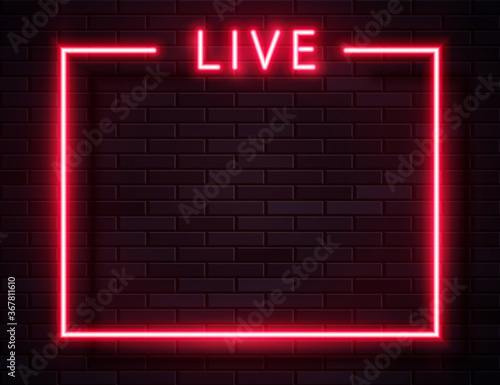 Tablou Canvas Vector Retro Neon Red Live Frame on Dark Background