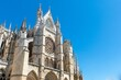 Low angle shot of the Leon Cathedral located in Leon, Spain under the blue sky