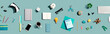 canvas print picture - Collection of electronic gadgets and office supplies - flat lay