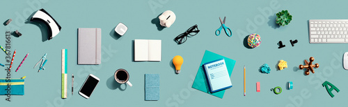Collection of electronic gadgets and office supplies - flat lay - 367816613