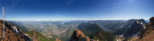 Fototapeta Panoramic View of Fraser Valley from top of Mountain, Cheam Peak, during a sunny summer morning. Taken near Chilliwack, East of Vancouver, British Columbia, Canada. Nature Background Panorama obraz