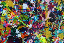 Acrylic Paint Splatters Cover The Canvas In This Abstract Background.