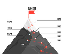 Mountain Route Infographic. Journey Challenge Path Business Goal Career Growth Success Climbing Mission. Mountains Path Steps
