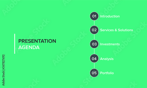 Obraz Agenda infographics template, presentation agenda. Vector template design. Editable template of presentation slide representing company agenda, meeting agenda. - fototapety do salonu