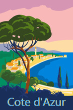 Cote D Azur Of France Travel Poster Retro Old City Mediterranean Sea Vacation Europe
