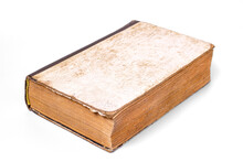 An Old Time Worn Book With Scuff Marks Isolated On A White Background