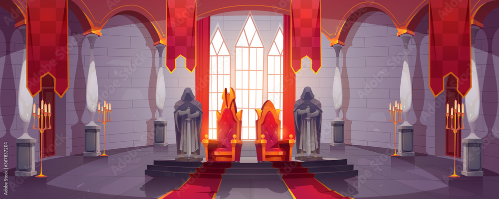 Fototapeta Castle hall with thrones for king and queen. Ballroom interior, Medieval palace for royal family with flags, guards with swords stone statues. Fantasy, fairy tale, pc game Cartoon vector illustration