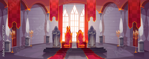 Obraz Castle hall with thrones for king and queen. Ballroom interior, Medieval palace for royal family with flags, guards with swords stone statues. Fantasy, fairy tale, pc game Cartoon vector illustration - fototapety do salonu