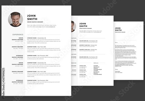 Fototapeta Minimal Contemporary Resume and Cover Letter Set obraz