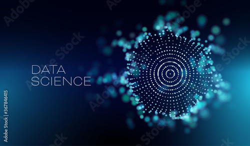 Data science abstract vector background. 3D sphere cloud server. Machine learning technology.