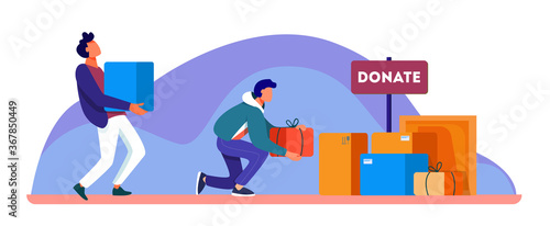 Volunteers donating stuff in boxes for poor people Wallpaper Mural