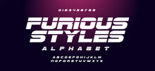 Fast And Furious Style Fonts. Sport, Motorcycle, For Movie Technology, Racing Logo Design. Sport Alphabet Font. Easily Editable Vector. EPS 10.