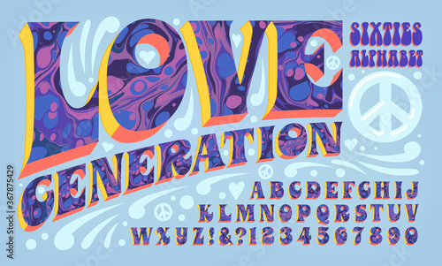Psychedelic Font; Ink Marbling Effects on Groovy Sixties Lettering Wallpaper Mural