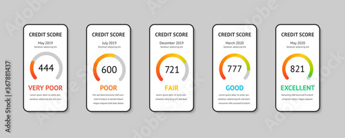 Obraz na płótnie Set smartphones with credit score app on the screen