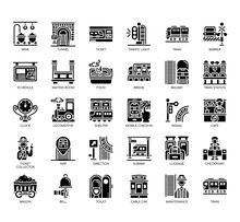 Set Of Railway Thin Line And Pixel Perfect Icons For Any Web And App Project.