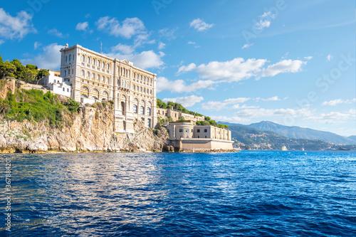 View from the sea of the Monaco Aquarium Oceanographic Museum of marine sciences in Monaco-Ville, Monaco.