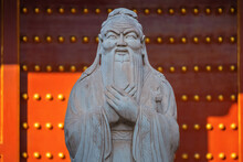 Statue Of Confucius At The Temple Of Confucius In Beijing, China