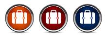 Bag Icon Exclusive Blue Red And Orange Round Button Design Set