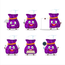 Cartoon Character Of Purple Candy Sack With Various Chef Emoticons