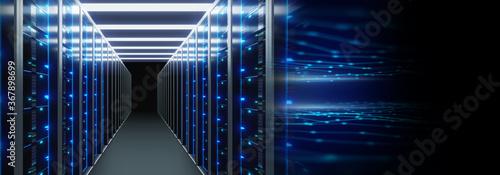 Obraz server room with server racks in datacenter banner. 3d illustration - fototapety do salonu