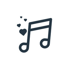 Love Song Icon Vector From Valentine Concept. Thin Line Illustration Of Love Song Editable Stroke. Love Song Linear Sign For Use On Web And Mobile Apps, Logo, Print Media.