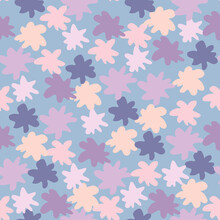 Purple, Lilac And Pink Star Abstract Shapes Seamless Pattern. Blue Background. Childish Backdrop.