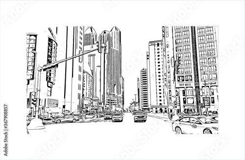 Building view with landmark of Abu Dhabi, the capital of the United Arab Emirates. Hand drawn sketch illustration in vector.