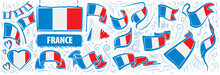 Vector Set Of The National Flag Of France In Various Creative Designs