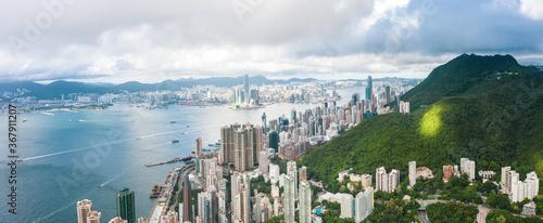 Fototapeta Amazing view of Victoria Harbour, Hong Kong, panorama, daytime obraz