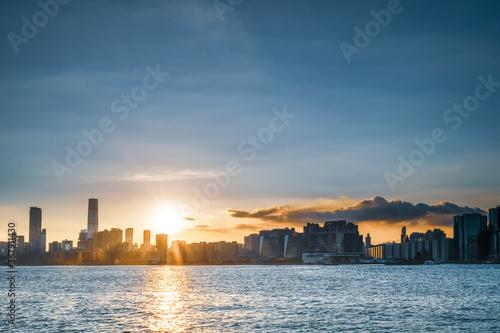 Fototapeta Sunset of Kowloon area, downtown area of Hong Kong obraz